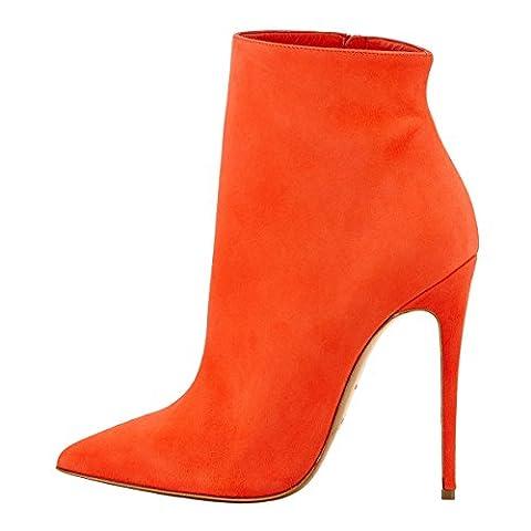 Onlymaker Fashion Sexy Ankle Bottes Low Boots En velours A Talons Hauts Aiguilles A Bouts Pointus Pour Robe High Heel Drees Shoes Fermeture Eclair Passion Orange Femme
