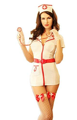 6Moon Sexy Krankenschwester-Kostüm 8-teilig Gr. 36-40 (Schuhe Sexy Krankenschwester)