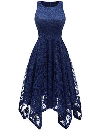 bridesmay Damen Elegant Spitzenkleid Knielang unregelmäßig Zipfel Kleid Cocktailkleid Abendkleider Navy M (Chiffon Kleid Taschentuch)