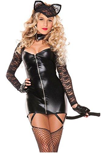 Kostüm Figur Art Halloween Pop (Shangrui Weibchen Cosplay Kostüm Serie Schwarz Reißverschluss vorne Catwoman)