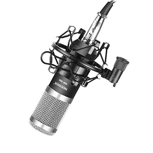Neewer NW-800 Pro Nieren Kondensatormikrofon Set mit Shock Montage, Kugel-Typ Anti-Wind-Schaumkappe, 3,5mm auf XLR-Audiokabel für Aufnahme-Sendung YouTube Live Periscope (Schwarz / Silber)