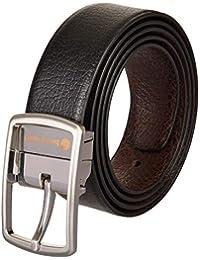 Bacca Bucci® Men's Reversible Classic Dress belt Italian Top Grain Genuine leather black & brown with rotating Metal Buckle-Black/Brown