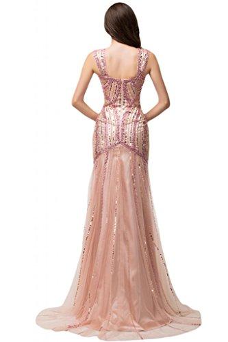 Sunvary Scoop Fodero da sera Gowns Pageant trasparente, con strass rosa Light Sky Blue