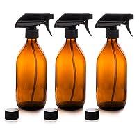 ENSEMBLE DE QUALITÉ SUPÉRIEURE DE 3 FLACONS DE PULVÉRISATION EN VERRE AMBER DE 500 ML AVEC DÉCLENCHEURS À BRUME FINE ET CAPUCHONS HERMÉTIQUES Un magnifique ensemble de trois bouteilles de vaporisateur en verre ambré de 500 ml avec des amorces de brou...