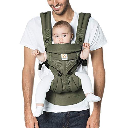 Ergobaby Babytrage ab Geburt, 4-Positionen Cool Air Omni 360 Khaki Grün, Ergonomische Baby Tragetasche für Neugeborene bis Kleinkind, Kindertrage -