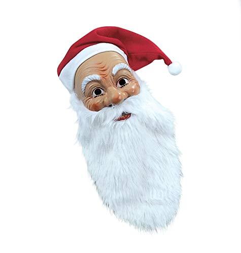 Matrodo- Nikolaus-Weihnachtsmann Maske mit weissem Bart und roter Kapuze Weihnachstmann-Kostüm