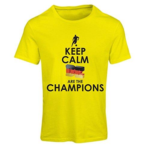 Frauen T-Shirt Deutsche sind die Champions - Russland-Meisterschaft 2018, WM-Fußball, Team von Deutschland Fan-Shirt (Small Gelb Mehrfarben)