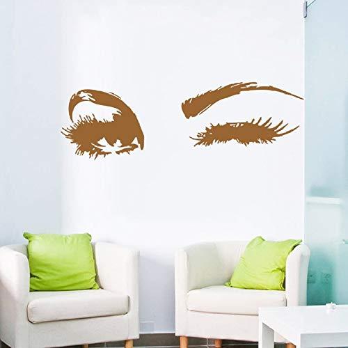 Geiqianjiumai Wink Wandaufkleber süße große Augen Wimpern Wanddekoration Wandkunst Vinyl Aufkleber Abziehbilder Schlafzimmer Innenarchitektur Aufkleber braun 30X96CM