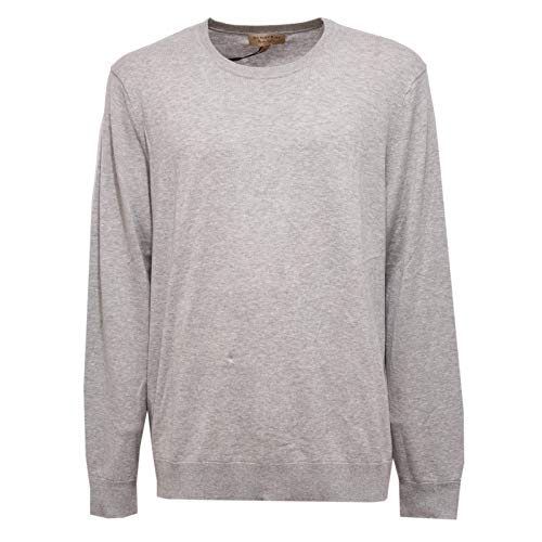 BURBERRY 9172Z Maglione Uomo BRIT Cotton/Cashmere Grey Sweater Man [XXL] Burberry Check Cashmere