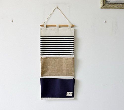 r Streifen Spleißen Lagerung Hängende Tasche Badezimmer Schlafzimmer Spielzeug Container Tasche für Kinderzimmer Blau ()