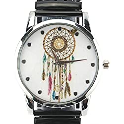 Michael John Damen-Armbanduhr Stahl und schwarze Ethnic Pampa