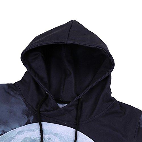 uideazone Unisex Wolf Langarm Kapuzenpullover Hoodie Sweatshirt mit Kängurutasche für Männer und Frauen EWolf-6