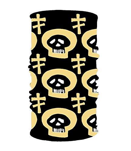 Yesliy Stirnband mit Totenkopf-Motiv, für Damen und Herren, Gelb