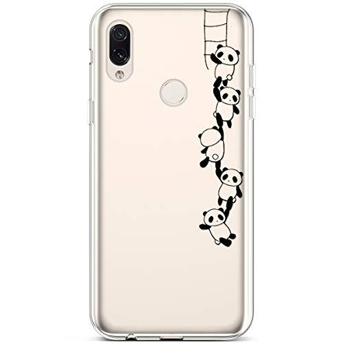 QPOLLY Kompatibel mit Xiaomi Redmi Note 7 Hülle Silikon Ultra Dünn Transparent Bunte Gemalt Muster Handyhülle Kratzfest Rückschale Crystal Clear TPU Soft Flex Handy Hülle Tasche Schutzhülle,Panda C