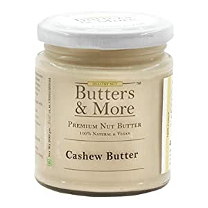 Butters & More Vegan Natural Cashew Butter (200G) Unsweetened Single Ingredient Creamy Nut Butter.