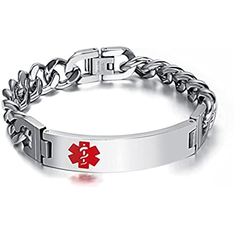LianDuo Acciaio inossidabile personalizzata Medical Alert ID di identificazione braccialetto d'argento delle donne degli uomini,12 (Fortunato Braccialetto Della Pietra Preziosa)