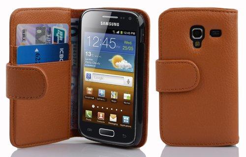 Cadorabo Samsung Galaxy ACE 2 Custodia di Libro di Finta-Pelle STRUTTURA in MARRONE CIOCCOLATA – con Vani di Carte e Chiusura Magnetica – Portafoglio Cover Case Wallet Book Etui Protezione