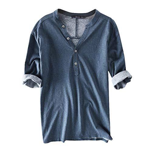 Crazboy Herren beiläufiges Breathable festes halbes Hülsen-Blusen-Sommer knöpft Baumwollt-Shirt(XXX-Large,Blau) (Halloween 2019 Woman Wonder)