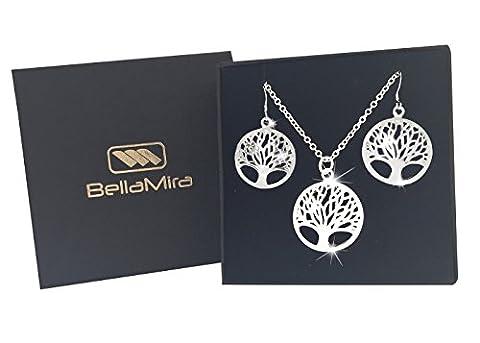 BellaMira 925 Silver Tree of Life Pendant (30mm) & Earrings (24mm) as Chakra Reiki Wellbeing Meditation Yoga Peace Love Gift Fashion Jewellery for Girls Women Unisex in Luxury Gift Box (Necklace & Earrings