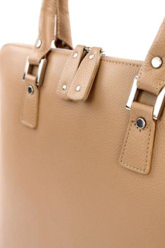 ital. Handtasche Arzttasche Damentasche Tragetasche Echt Leder Tasche F8040 Beige