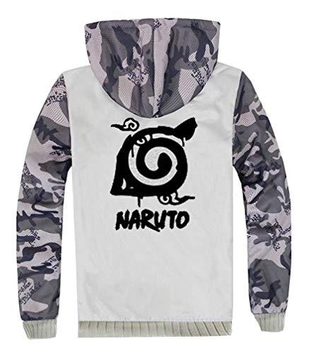 Men's Night Kostüm Elf - Cosstars Anime Naruto Hoodie Kapuzenpullover Herren Cosplay Kostüm Plus Samt Camo Leuchtend Sweatjacke Mantel 11 L