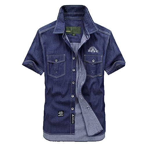 Blusa Hombres Camisa Vaquera de Manga Corta Suelto Color Sólido con Botones Azul Marino S