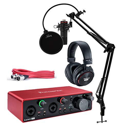 Focusrite Scarlett 2i2 Studio 3. Generation 2x2 USB Audio Interface Bundle mit Kopfhörern, XLR-Kabel, Knox Studio Ständer, Shock Mount und Popfilter (4 Stück) -