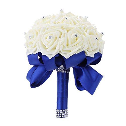 Anself Brautstrauß Künstlicher Blumenstrauß mit Diamant Strass und Blau Bandhandgriff (Brautstrauß Blau)