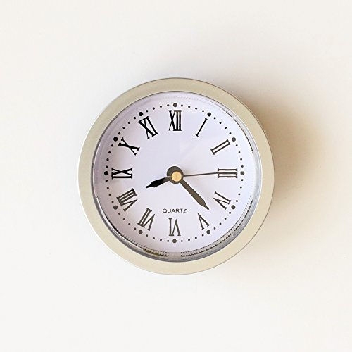 Unbekannt Einbau-Uhr Einsteckuhrwerk Einsteckwerk Einbauuhr Modellbau-Uhr Ø 60 mm silber Nr.15 (Silber)