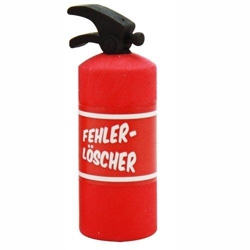 Radiergummi Collection Feuerlöscher rot einzeln verpackt 2,3x2,3x6cm - Liefermenge 24 Stück