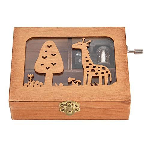 Holz Box eingraviert aus Holz Hand Kurbel Spieluhr einzigartige Geburtstag Handwerk Geschenk Spielzeug(Giraffe) ()