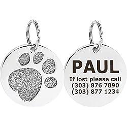 Taglory Plaque Identification|Acier Inoxydable Pet ID Tags personnalisé|Médaille d'identité Personnalisable pour Chat ou Chien Gravure|Patte de Paillettes Porte adresse |25mm Argent