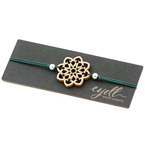 Pulsera de madera Mandala madera de arce. El tamaño de la pulsera es ajustable. Color verde. Delicado trabajo hecho a mano en Austria.