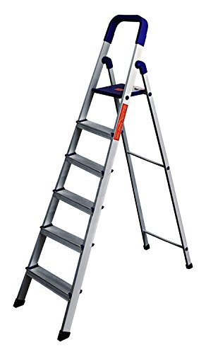 PARASNATH Aluminium Blue Heavy Folding Ladder 6 Step 6.2 Ft