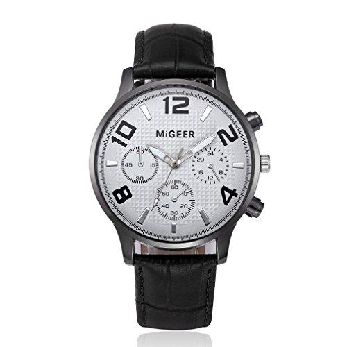 Preisvergleich Produktbild Retro Business Gürteluhr,  Zarupeng Herren Lederband Geschäfts Uhren Analoge Quarz Armbanduhr Schwarz Legierung Zifferblat (One Size,  F)