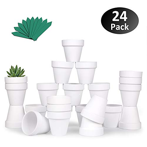 GROWNEER Mini-Tontöpfe aus Terrakotta, mit 25 Pflanzenetiketten, Keramik, Töpfer, Kaktus, Sukkulentententöpfe, für drinnen und draußen, zum Basteln, für Hochzeiten, 24 Stück