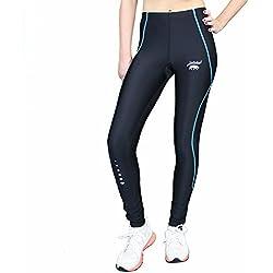 smilodox unidad Mujer Leggings Para Crossfit, con efecto de compresión largo, negro/turquesa