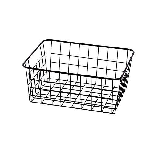 LY/WEY Multifunctional Simple Hollow Iron Storage Basket with/Whithout Interlining for Desktop Bathroom Kitchen Storage Organizer,B