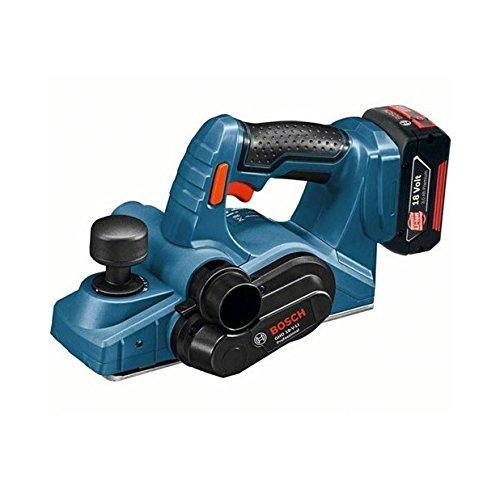 Bosch Professional 06015A0304 Professional GHO 18 V-LI Hobel, 2 x 5,0 Ah Akku, Schnellladeger\\x{00E4}t, L-BOXX, Schwarz, Blau, Rot