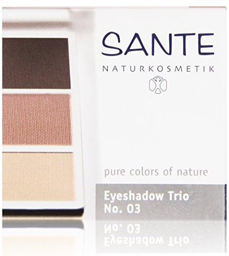 SANTE Naturkosmetik Eyeshadow Trio No. 03 rose wood, 3er Lidschatten, Seidenweiche Pudertextur, Natural Make-up, Vegan, 4,5g Rose Natural Wood