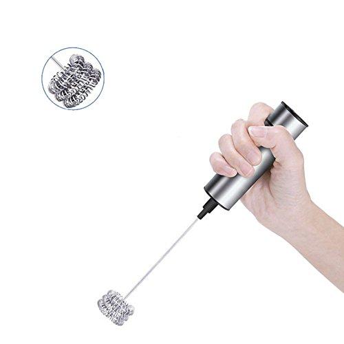 OurLeeme - Batidora eléctrica de mano de acero inoxidable con espuma, mezclador de huevos, batidora de café, mezclador automático para cocina, herramientas de cocina, tres capas