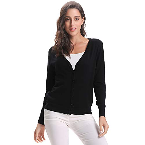 Luxspire Women's Long Sleeve Sweater, V-Neck Short Style Open Front Button Down Soft Basic Knitwear Cardigan for Girls Ladies, Black, Large (Cardigan V-neck Button-down)