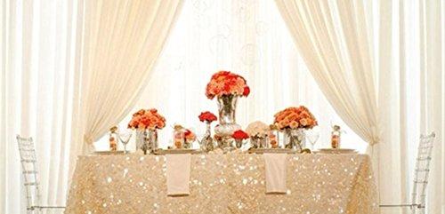shinybeauty Pailletten Tischdecke elfenbein 8ft 228,6x 335,3cm Glamouröser Tisch Hochzeit Glitzer Overlay für Event/Party/Bankett, elfenbeinfarben, 90x132inch -