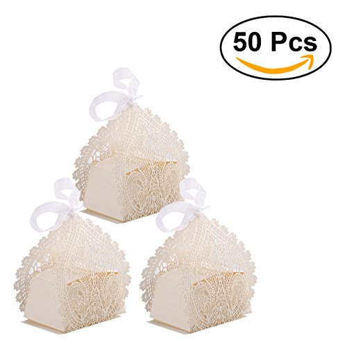 rosenice Hochzeit Favor Boxen 50PCS Hollow Out Craft Paper Hochzeit Geschenk Box für Candy Süßigkeiten mit Bändern (Cremige Weiß)