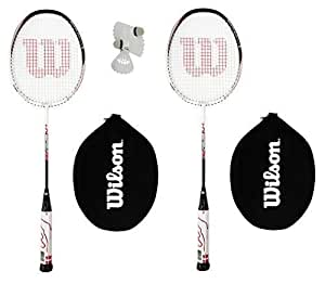 2 x Wilson Hybrid Red/White Badminton Racket Set with 3 Shuttles