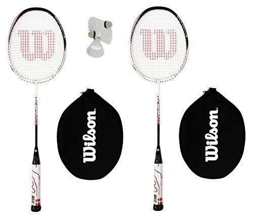 2-x-wilson-hybrid-red-white-badminton-racket-set-with-3-shuttles