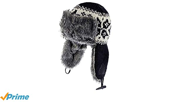 f5fcc0582c3 Pachamama 100% Wool Hand Knitted Yukon Fur Trapper Hat - Charcoal   Amazon.co.uk  Clothing