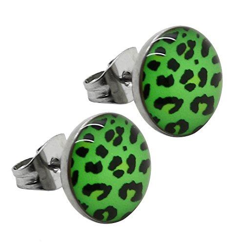 2 Boucle Clous d`Oreille Plug Piercing Falso Fakeplug léopard zèbre chouette cerise strass acier bouton coeur coccinelle mod 50