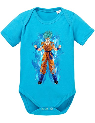 Goku Blau Aura Baby Strampler Body Dragon Master Son Ball Vegeta Turtle Roshi Db, Größe:62;Farbe:Türkis