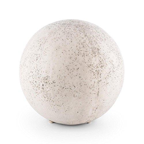 blumfeldt - Gemstone L, Gartenlampe, Kugelleuchte aussen, Außenleuchte Kugel, für Garten und Außenanlagen, 33 cm Durchmesser, Naturstein-Optik, beige-weiß